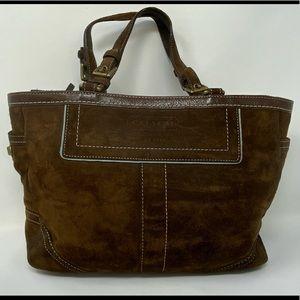 Coach East-West Hampton Gallery Tote Handbag SUEDE